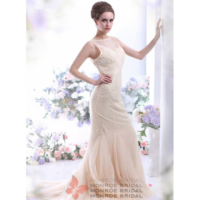 Fionn - Tulle Champagne Evening Dress