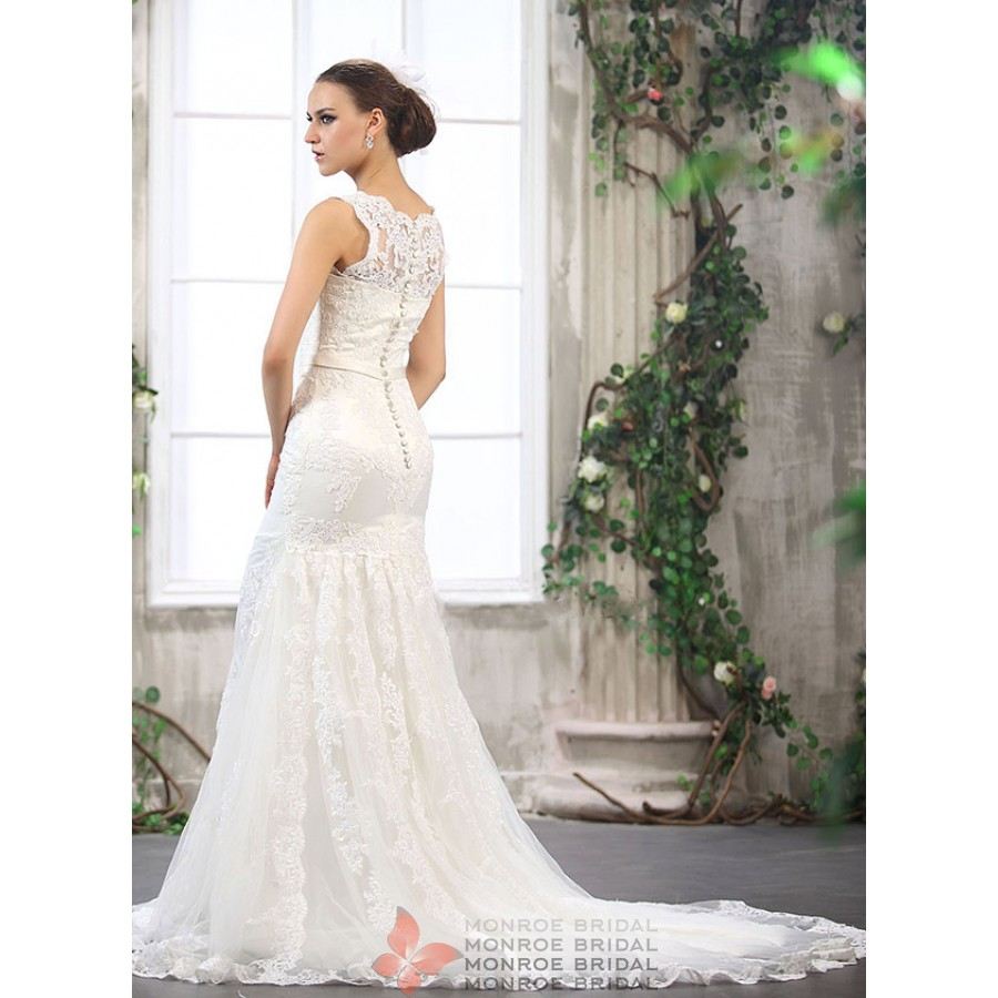 Abina - Ivory or white lace gown