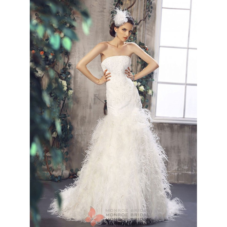 Aine - Drop Waist Feathered Wedding Gown- Strapless Drop Waist ...