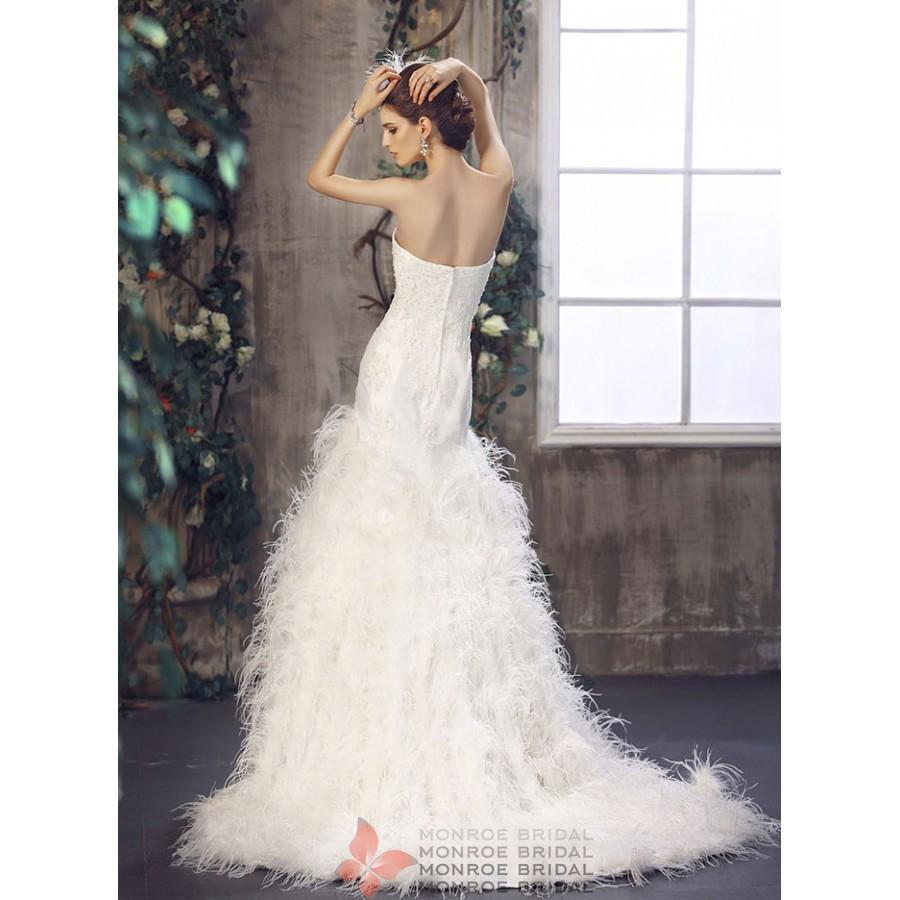 Aine - Drop Waist Feathered Wedding Gown- Strapless Drop Waist ...