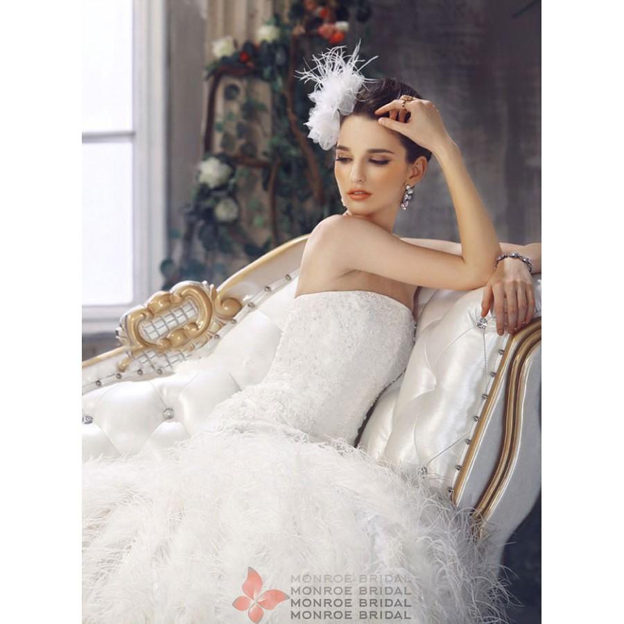 aine drop waist feathered wedding gown