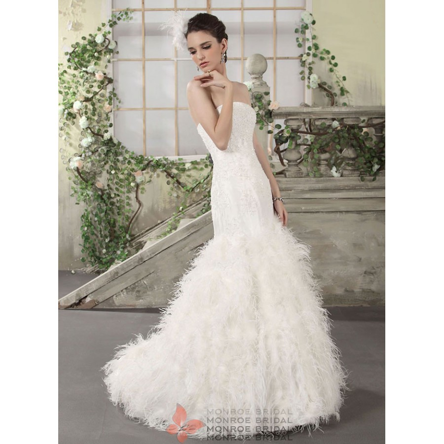 feathered wedding dress wedding dress with feathers Whole Ostrich Feather Wedding Dress From China