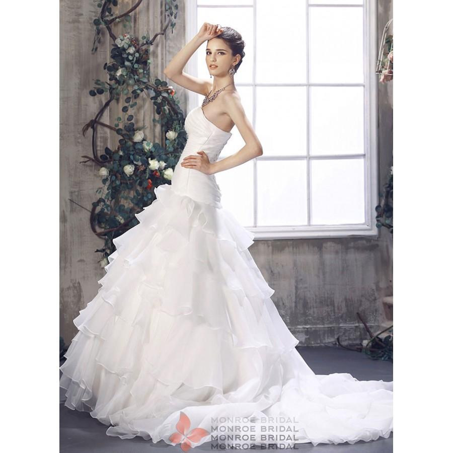 Annabel - Drop Waist Gown Organza Gown- Elegant Strapless Drop Waist ...