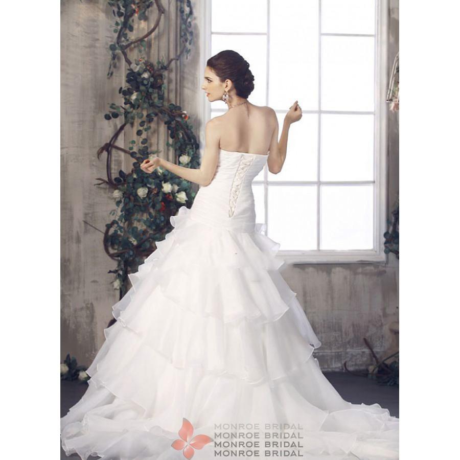 Drop Waist Wedding Dress: Drop Waist Gown Organza Gown- Elegant Strapless