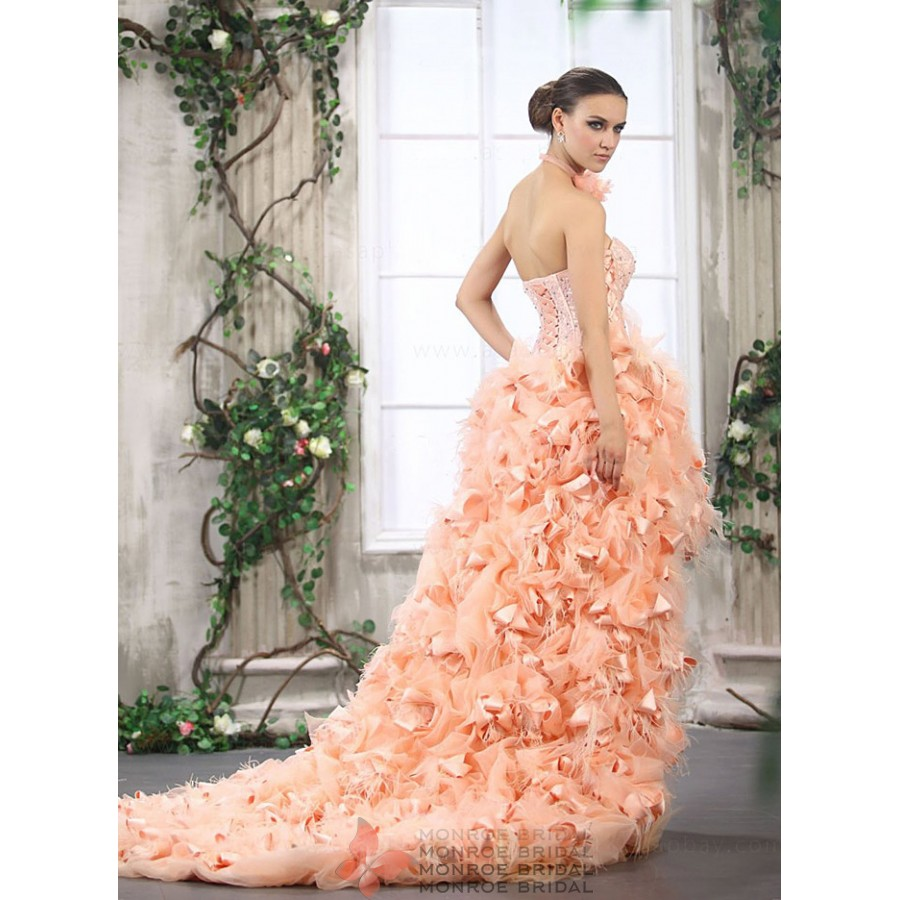 capri high low feathered wedding gown