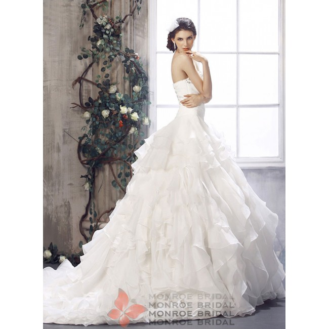 Adele - Strapless Organza Wedding Gown