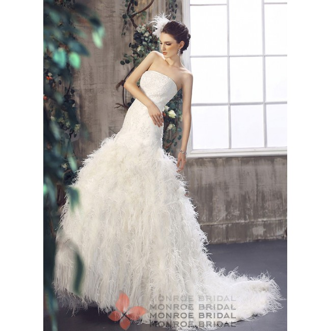 Aine - Drop Waist Feathered Wedding Gown