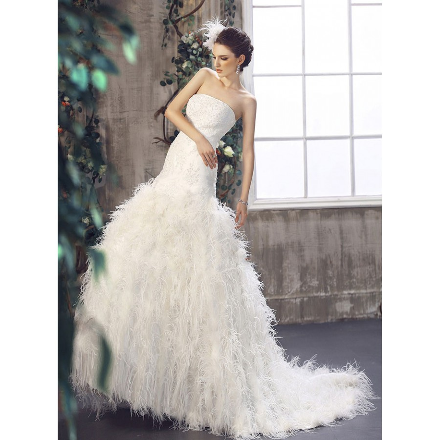 Wedding Gown With Feathers: Drop Waist Feathered Wedding Gown- Strapless Drop