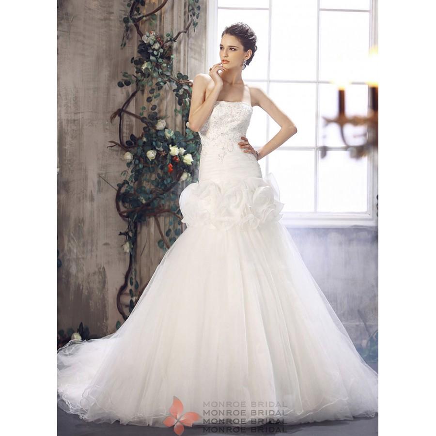 Ali - Drop Waist Tulle Gown- Strapless Drop Waist Wedding Dress with ...