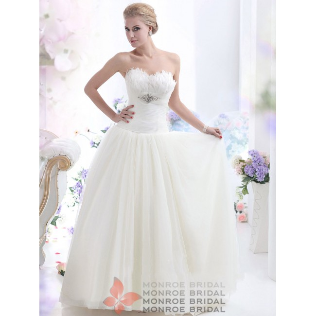 Alina - Luxury Sweetheart Feathered Tulle Wedding Dress