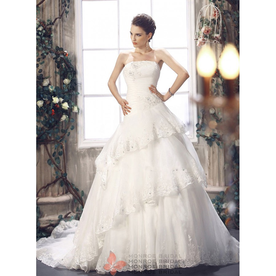 Anjelica - Drop Waist Organza Wedding Gown- Stunning Drop Waist ...