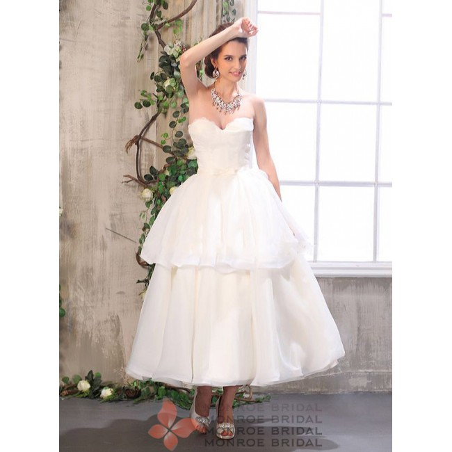 Billie - A Line Sweetheart Ankle Length Organza Wedding Dress
