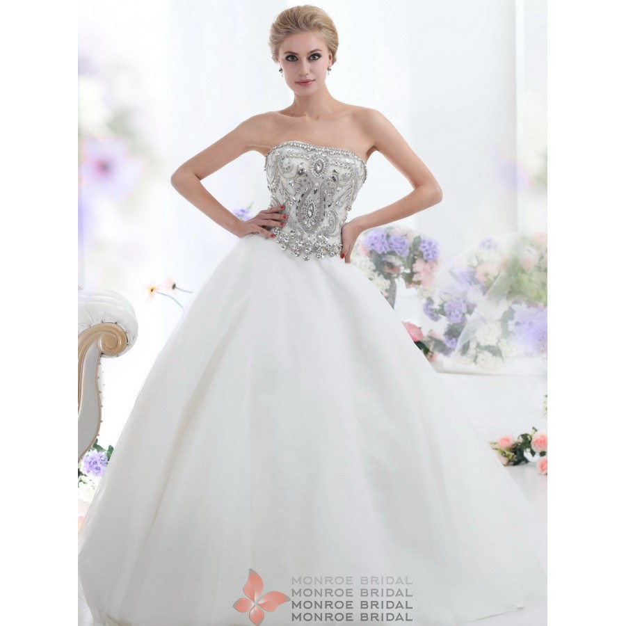 Emily - Strapless Beabed Tulle Ball Gown- Stunning Ball Neckless ...