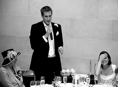 Groom making the perfect wedding speech